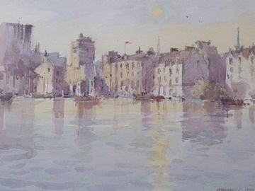 Michael D Hill Original Watercolour Painting Barbican Harbour Plymouth Devon